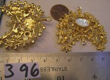 2 Vtg 50mm Connector Rhinestone Setting Pendant Necklace Jewelry Findings Gold P