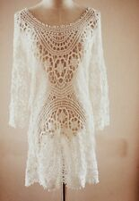 Lace♡Sexy Crochet♡Celebrity Style♡White Sexy Dress♡Beach Dress♡Tunic. NEW S