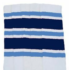 """22"""" KNEE HIGH WHITE tube socks with BABY BLUE/NAVY BLUE stripes style 6 (22-133)"""