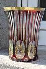 Große Art Deco Vase Crystal Handcut Goldrand Rubin Haida-Steinschönau um 1920