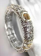 GORGEOUS Designer BALINESE Silver Gold Smoky Brown Topaz CZ Crystals Bracelet