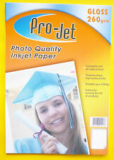 100 SHEETS A4 Gloss 260gsm Instant Dry PRO-JET Glossy inkjet Photo Paper - FAST!