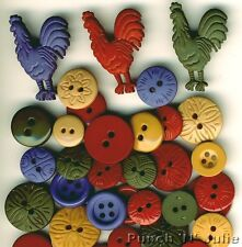 Color me.. pays coq COQ POULE FERME ROND SEW robe it up boutons Craft
