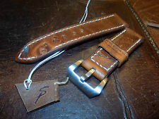 Hand made 24mm Swiss Army leather Ammo watch strap. Screw in buckle