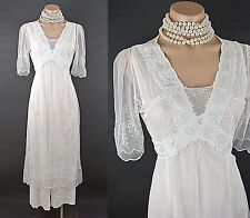 Vintage Style wedding dresses Nataya White Dress M Lace Tie Back Empire Waist