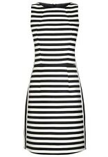 BNWT🎀 NEXT 🎀 Size 18 BLACK & OFF WHITE STRIPED SHIFT PENCIL DRESS RRP £50! New
