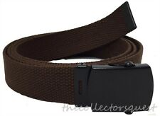 "DARK BROWN ADJUSTABLE 56"" INCH CANVAS MILITARY WEB BELT BLACK BUCKLE MEN WOMEN"