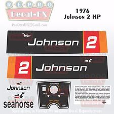 1976 Johnson 2 HP Sea Horse Outboard Reproduction 8 Pc Marine Vinyl Decals