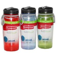 3PK Rubbermaid 7M58 Tritan Refill & Reuse BPA FREE 20oz. Water Bottles
