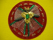 Red Round Christmas Magnet w/ Gold Bow Green Rose & Gold Ribbon Plastic Canvas