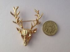 DEER/STAG Broach Gold Antler Animal Quirky Indie Vtg Retro Antique Style Animal