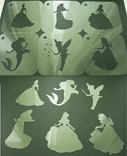 DISNEY Princess Set of 6pcs cacao Stencil STREW AEROGRAFIA SPOLVERARE CORPO VISO