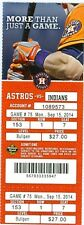 2014 Astros vs Indians Ticket: Jose Altuve had three hits to give him 209