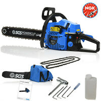 "58cc 20"" Petrol Chainsaw: 2x Saw Chains & Carry Case. Easy Start, NGK Spark Plug"