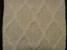 Shabby Chic White Cotton Throw Bath Rugs Set/2 Beach Cottage Modern Trellis Dorm