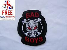 Bad Boys Skull Iron-on/sew-on Embroidered Patch Motorcycle Biker Skull Punk Rock