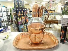 Princess House Copper Coffee/Tea Carafe, Claw Foot Stand, Serving Tray Retired