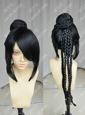 Final Fantasy / lulu / Braids Head + Wig Bag / Black Cosplay Wig