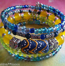 HIPPY BOHO ARTISAN STACKING MEMORY CUFF BRACELET TRADE BEAD GLASS   AGATE 2502d