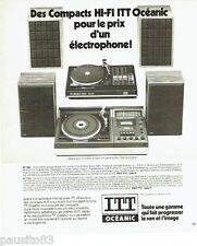 PUBLICITE ADVERTISING 116  1978  ITT Oceanic  compact hi-fi  ampli platine combi