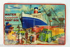 Vintage Page London Water color Paint Box Tin Litho Paint Set Cruise Ship Docks