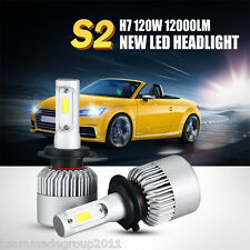 2x 120W H7 COB LED Headlights 6500K Light Truck Car Bulbs Kit White Beam 12000LM