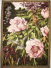 "PIVOINES / PEONIES 35"" FULLY LINED BELGIAN TAPESTRY WALL HANGING WITH ROD SLEEVE"