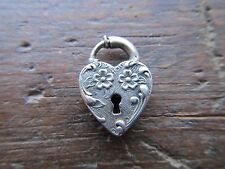 VINTAGE 1940's Sterling Silver Repousse Puffy HEART LOCK CHARM Clasp