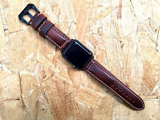 Quality Smooth Vintage Brown Leather Watch Strap Band for Apple Watch 42mm A1