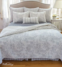 CLEMENTINA GREY Full Queen QUILT SET : WHITE FRENCH TOILE WILLIAMSBURG GRAY BED