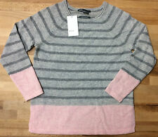 $198.00 Vince Girl's Colorblock Cashmere Sweater Pink Charcoal small