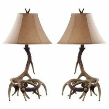 Antler Table Lamps Set 2 Shades Light Rustic Lodge Cabin Lighting Lamp Pair