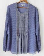 Coldwater Creek Tunic Top Chiffon Blue Long Sleeve Relax Fit Size M(10-12)