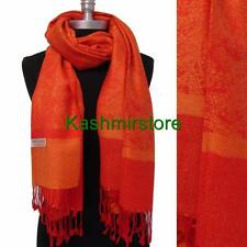 New Pashmina Paisley Floral Silk Wool Scarf Wrap Shawl Soft Orange/Red #S206