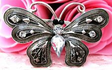 Ladies/Girls Grey Crystals Butterfly Crystal Rhinestone Brooch new