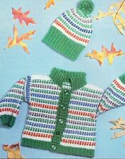 CUTE Toddler's Afghan Stitch Cardigan & Cap/Baby/Crochet Pattern Instructions