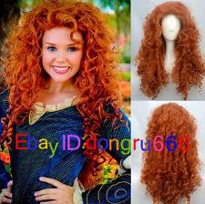Hot Sell! Disney Pixar Animated movie of Brave MERIDA Cosplay Orange wig