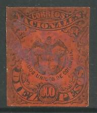 COLOMBIA. 1877. 10 Peso Black on Vermilion. Type I. SG: 70. Fine Used.