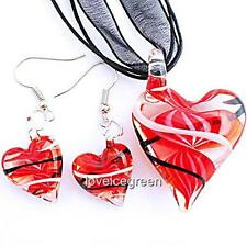Red Heart Lampwork Glass Murano Bead Pendant Ribbon Necklace Cord Earrings Set