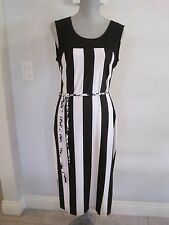 NWD MSK Small Black & White Striped Sleeveless Dress Below Knee Length
