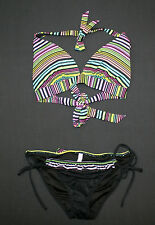 NEW VICTORIA'S SECRET NEON STRIPE PUSH UP HALTER BIKINI SET SZ S/M