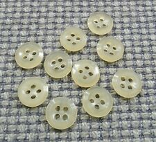 10 Vintage Cream Camicia Bottoni 12mm BABY DOLL CLOTHES Card Making artigianato 4 FORI