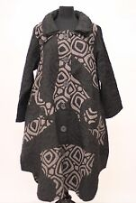 PRISA EUROPEAN LAGENLOOK ARTSY ASYM BALLOON BUTTONED COAT JACKET BLACK Sz 0 $389