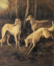John Emms Three Borzoi Oil Painting repro
