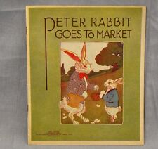 Peter Rabbit Goes To Market Vintage 1920 Linen Softcover Book Saalfield