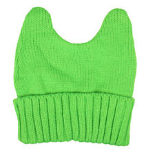 Pussy-Hat, Pussy-Cat knitted Fleece Hat, Nasty Woman Beanie one size Lime Green