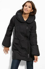 Betsey Johnson Black Asymmetrical Zip Puffer Coat. Style Number: 318672