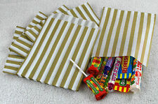 "100 Gold & White Candy Stripe Paper Sweet Bags Wedding 5"" X 7"" Pick 'n' Mix Bags"