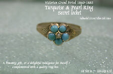 Victorian Antique c1864 15ct Yellow Gold Turquoise Pearl Ladies Dress Ring UK M