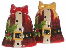 Christmas Festive Tableware Bells Cruet Set Salt & Pepper Pots  NEW  25453